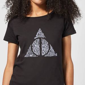 T-Shirt Harry Potter Deathly Hallows Text - Nero - Donna