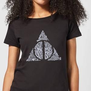 Harry Potter Deathly Hallows Text Women's T-Shirt - Black