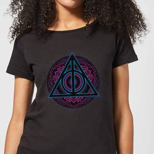 Harry Potter Deathly Hallows Neon Women's T-Shirt - Black