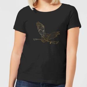 Harry Potter Hedwig Broom Gold Women's T-Shirt - Black