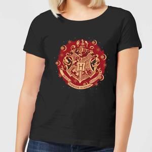Harry Potter Hogwarts Christmas Crest Women's T-Shirt - Black