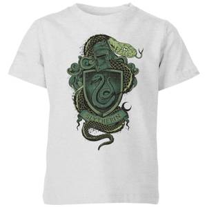 Harry Potter Slytherin Drawn Crest Kids' T-Shirt - Grey