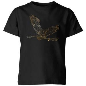 Harry Potter Hedwig Broom Gold Kids' T-Shirt - Black