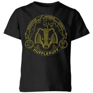 Harry Potter Hufflepuff Badger Badge Kids' T-Shirt - Black