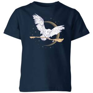 Harry Potter Hedwig Broom Kids' T-Shirt - Navy