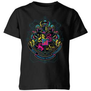 Harry Potter Hogwarts Neon Crest Kids' T-Shirt - Black
