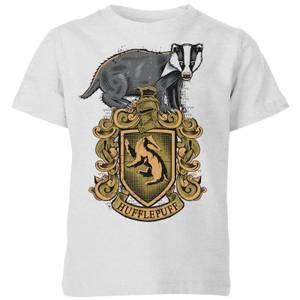 Harry Potter Hufflepuff Drawn Crest Kids' T-Shirt - Grey