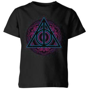 Harry Potter Deathly Hallows Neon Kids' T-Shirt - Black