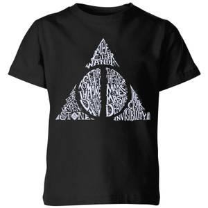 Harry Potter Deathly Hallows Text Kids' T-Shirt - Black