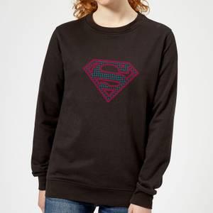 Justice League Superman Retro Grid Logo Women's Sweatshirt - Black