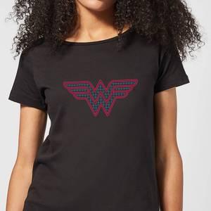Justice League Wonder Woman Retro Grid Logo Women's T-Shirt - Black