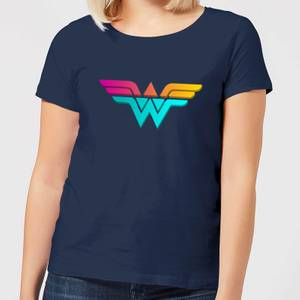 Justice League Neon Wonder Woman Women's T-Shirt - Navy