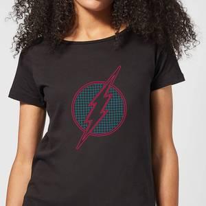 Justice League Flash Retro Grid Logo Women's T-Shirt - Black