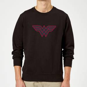 Justice League Wonder Woman Retro Grid Logo Sweatshirt - Black