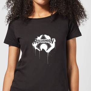 Justice League Graffiti Aquaman Women's T-Shirt - Black