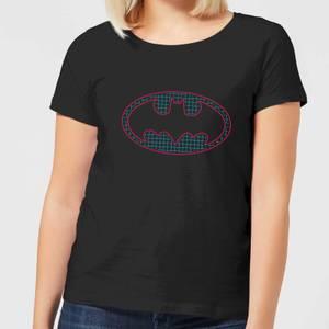 Justice League Batman Retro Grid Logo Women's T-Shirt - Black