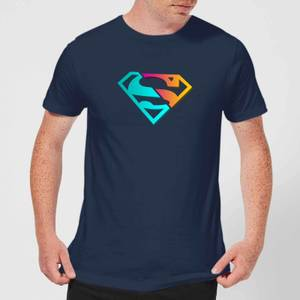 Justice League Neon Superman Men's T-Shirt - Navy