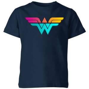 Justice League Neon Wonder Woman Kids' T-Shirt - Navy