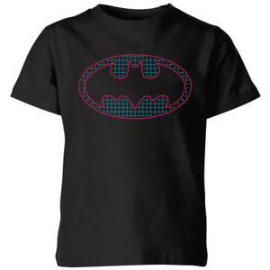 Justice League Batman Retro Grid Logo Kids' T-Shirt - Black