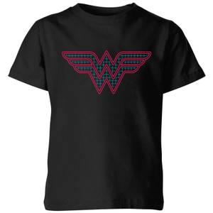 Justice League Wonder Woman Retro Grid Logo Kids' T-Shirt - Black