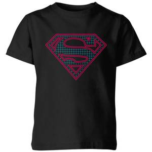 Justice League Superman Retro Grid Logo Kids' T-Shirt - Black