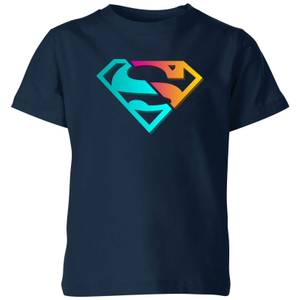Justice League Neon Superman Kids' T-Shirt - Navy