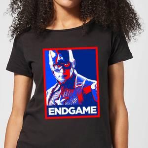 T-Shirt Avengers Endgame Captain America Poster - Nero - Donna