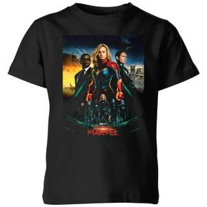 T-Shirt Captain Marvel Movie Starforce Poster - Nero - Bambini