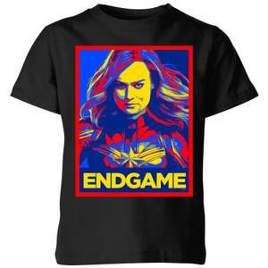 Avengers Endgame Captain Marvel Poster Kids' T-Shirt - Black