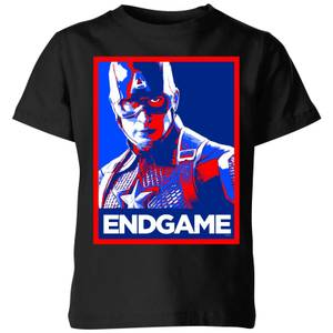 Avengers Endgame Captain America Poster Kids' T-Shirt - Black