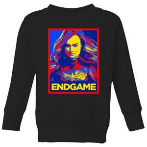 Avengers Endgame Captain Marvel Poster Kids' Sweatshirt - Black