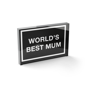 Glass Block World's Best Mum Glass Block - 80mm x 60mm