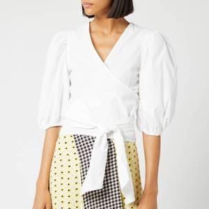 Ganni Women's Plain Cotton Poplin Shirt - White