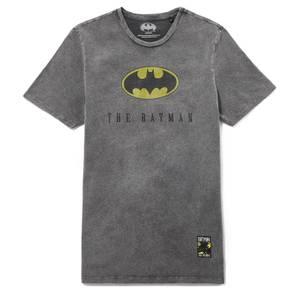 Batman 80th Anniversary Logo T-Shirt - Black Acid Wash