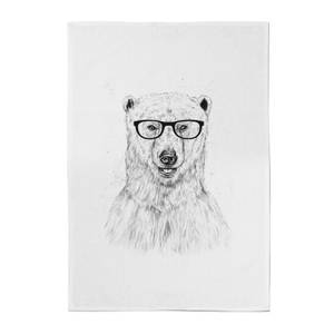 Polar Bear And Glasses Cotton Tea Towel