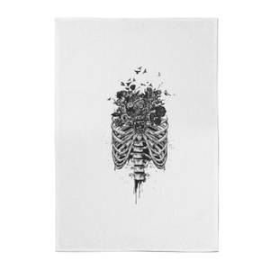 Ribcage And Flowers Cotton Tea Towel