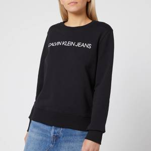 Calvin Klein Jeans Women's Institutional Core Logo Crew Neck Sweatshirt - CK Black