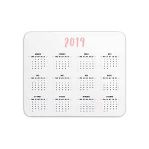 Mouse Mats 2019 Calendar Pink Mouse Mat
