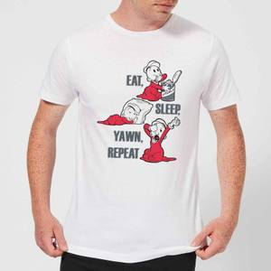 Popeye Eat Sleep Yawn Repeat Men's T-Shirt - White