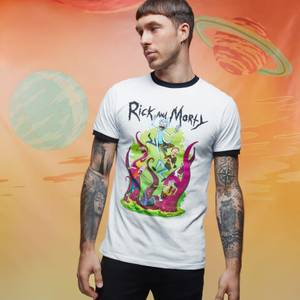 T-shirt - Rick and Morty 70s - Blanc / Noir