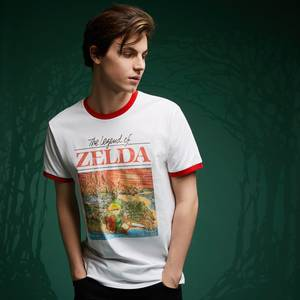 Legend Of Zelda Retro Box Art T-Shirt - White / Red Ringer