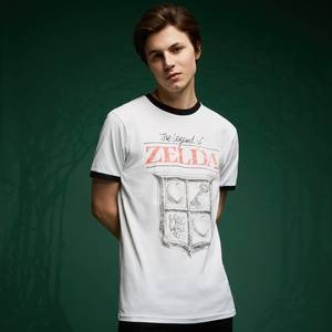 Legend Of Zelda Retro Logo T-Shirt - White / Black Ringer