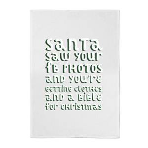 Santa Saw Your FB Photos Cotton Tea Towel