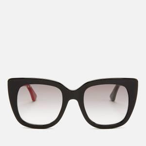 Gucci Women's Cat Frame Logo Sunglasses - Black/Grey