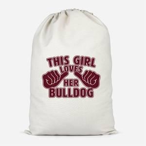 This Girl Loves Her Bulldog Cotton Storage Bag