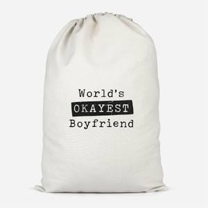 World's Okayest Boyfriend Cotton Storage Bag