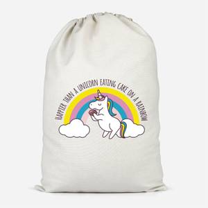 Happier Than A Unicorn Eating Cake Cotton Storage Bag