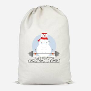 All I Want For Christmas Is Gains Cotton Storage Bag