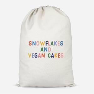 Snowflakes And Vegan Cakes Cotton Storage Bag
