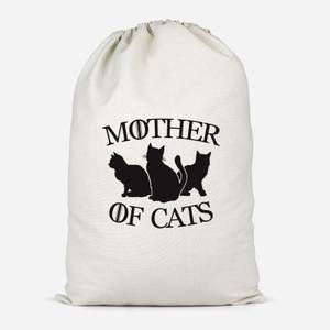 Mother Of Cats White Tee Cotton Storage Bag